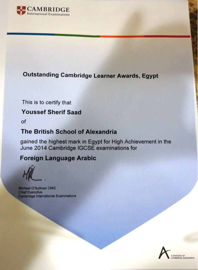 Highest mark in Egypt - Cambridge IGCSE June 2014 | British