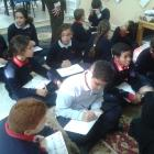 Year 5 learning about how to write poems with Mrs. Smalley
