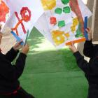 Haya and Zain finding right angles in the playground